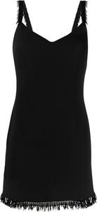Czarna sukienka Elisabetta Franchi na ramiączkach z dekoltem w kształcie litery v mini