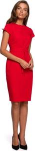 Sukienka Style z okrągłym dekoltem z tkaniny z krótkim rękawem