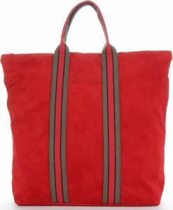 Czerwona torebka VITTORIA GOTTI z zamszu duża na ramię