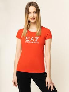 Czerwony t-shirt Emporio Armani z krótkim rękawem z okrągłym dekoltem
