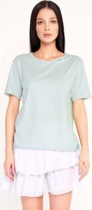 Miętowy t-shirt Byinsomnia w stylu casual z bawełny