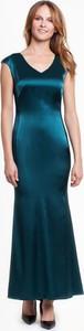 Zielona sukienka POTIS & VERSO z tkaniny maxi z dekoltem w kształcie litery v