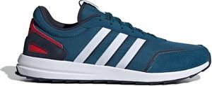 Turkusowe buty sportowe Adidas sznurowane z zamszu