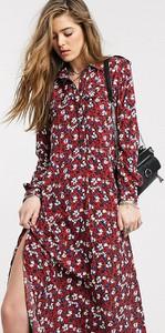 Fioletowa sukienka Topshop Tall z długim rękawem szmizjerka maxi