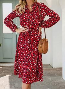 Czerwona sukienka Cikelly kopertowa z długim rękawem w stylu casual