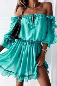 Turkusowa sukienka IVET mini hiszpanka w stylu boho