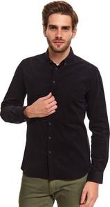 Koszula Top Secret z długim rękawem z kołnierzykiem button down ze sztruksu