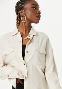 Bluzka Asos z długim rękawem z dekoltem w kształcie litery v z lnu