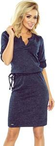 Sukienka NUMOCO z kołnierzykiem z długim rękawem w stylu casual