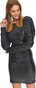 Czarna sukienka Top Secret z okrągłym dekoltem z długim rękawem