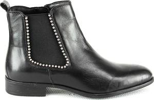 Botki Manoukian Shoes z płaską podeszwą ze skóry w rockowym stylu