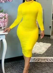 Żółta sukienka Cikelly z długim rękawem midi ołówkowa