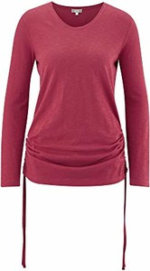 Czerwona bluzka amazon.de z długim rękawem z okrągłym dekoltem