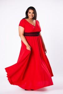 Czerwona sukienka Moda Dla Ciebie maxi z krótkim rękawem
