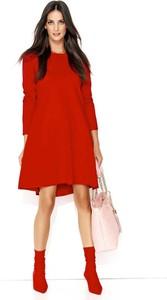 Czerwona sukienka Makadamia z bawełny z długim rękawem mini