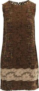 Brązowa sukienka Dolce & Gabbana bez rękawów z okrągłym dekoltem