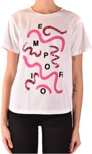 Różowy t-shirt Emporio Armani z krótkim rękawem w młodzieżowym stylu