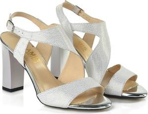 Srebrne sandały Gamis na wysokim obcasie