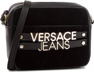 Czarna torebka Versace Jeans w stylu casual średnia z aplikacjami