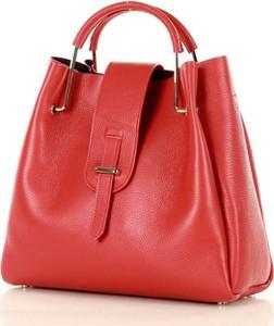 Czerwona torebka Merg ze skóry do ręki
