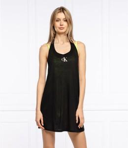 Czarna sukienka Calvin Klein na ramiączkach mini