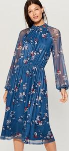 Niebieska sukienka Mohito midi w stylu boho rozkloszowana