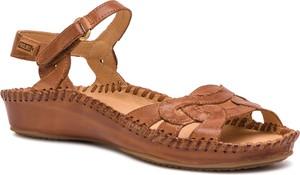 Brązowe sandały PIKOLINOS na niskim obcasie na koturnie ze skóry