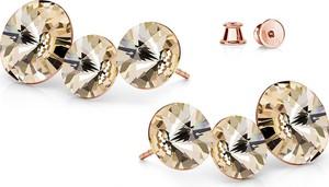 GIORRE SREBRNE POTRÓJNE KOLCZYKI SWAROVSKI RIVOLI 925 : Kolor kryształu SWAROVSKI - Light Silk, Kolor pokrycia srebra - Pokrycie Różowym 18K Złotem
