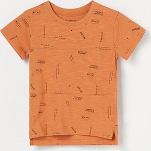 Pomarańczowa koszulka dziecięca Reserved z krótkim rękawem