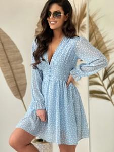Niebieska sukienka Versada mini z długim rękawem