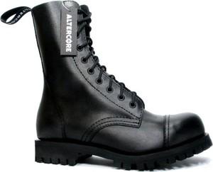 Czarne buty zimowe Altercore w rockowym stylu sznurowane