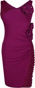 Fioletowa sukienka Fokus z dekoltem w kształcie litery v bez rękawów midi