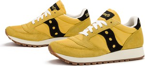 Żółte buty sportowe Saucony sznurowane z zamszu z płaską podeszwą