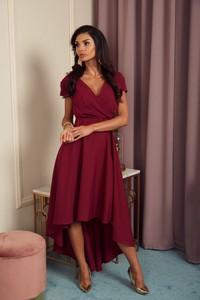 Czerwona sukienka Marconifashion z dekoltem w kształcie litery v