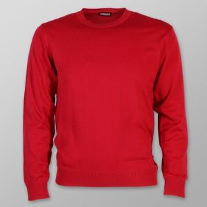 Czerwony sweter Willsoor w stylu casual z okrągłym dekoltem z dzianiny