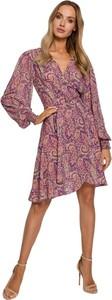 Różowa sukienka MOE z długim rękawem