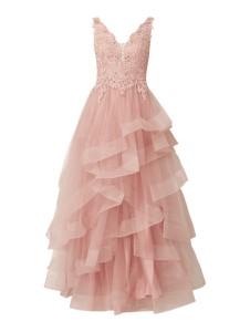 Różowa sukienka Unique rozkloszowana z satyny maxi
