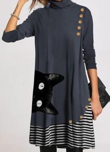 Sukienka Cikelly w stylu casual z długim rękawem z okrągłym dekoltem
