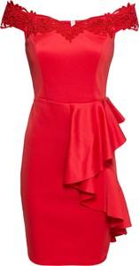 Sukienka bonprix BODYFLIRT boutique z krótkim rękawem asymetryczna hiszpanka