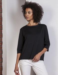 Czarna bluzka Lanti z długim rękawem z okrągłym dekoltem