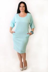 Niebieska sukienka Oscar Fashion z długim rękawem ołówkowa