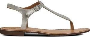 Srebrne sandały Geox z płaską podeszwą ze skóry