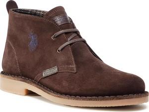 Brązowe buty zimowe U.S. Polo sznurowane