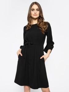 Czarna sukienka MaxMara rozkloszowana z długim rękawem