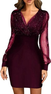 Sukienka Sandbella z dekoltem w kształcie litery v z długim rękawem ołówkowa