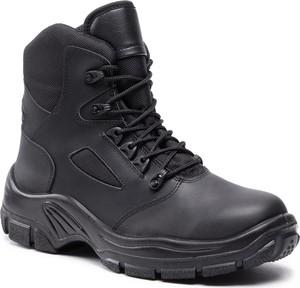 Czarne buty zimowe Protektor S.A. sznurowane ze skóry