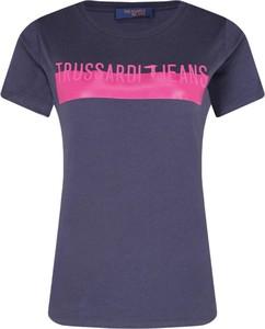 Niebieski t-shirt Trussardi Jeans z krótkim rękawem