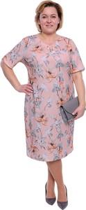 Sukienka modneduzerozmiary.pl z długim rękawem w stylu casual midi