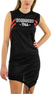 Czarna sukienka Dsquared2 bez rękawów mini z okrągłym dekoltem