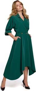 Zielona sukienka Makover z dekoltem w kształcie litery v z tkaniny midi